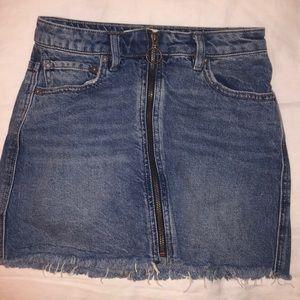 Free People Jean zip skirt